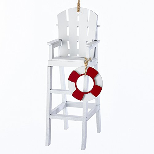 Guard Ornament - Kurt Adler WOODEN WHITE LIFEGUARD CHAIR WITH LIFE PRESERVER ORNAMENT