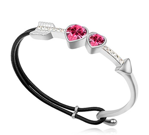 - Sojewe Women Charm Cupid Heart Leather Bracelet Pink Swarovski Elements Crystal White Gold Plated