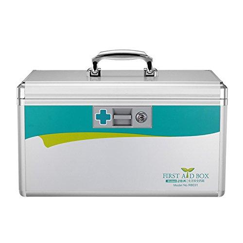 AZDENT Locking Medicine Box Prescription Storage Box Medicine Cabinet with Lock 7.7 x 7.9 x 12 inches (Silver)