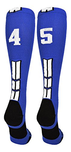 (MadSportsStuff Royal/White Player Id Over the Calf Number Socks (#45, Small))