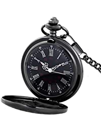 Black Pocket Watch Roman Pattern Steampunk Retro Vintage Quartz Roman Numerals Pocket Watch (Black)