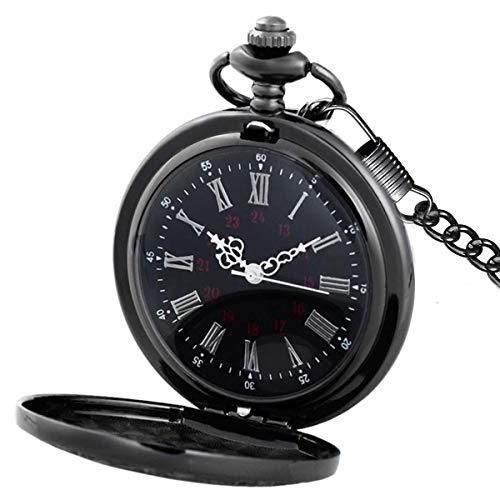 MJSCPHBJK Black Pocket Watch Roman Pattern Steampunk Retro Vintage Quartz Roman Numerals Pocket Watch (Black) by MJSCPHBJK
