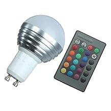 16 Color Changing Light Bulb - SODIAL(R) 1X GU10 3W RGB LED 16 Color Changing Lamp Light Bulb + IR Remote Control
