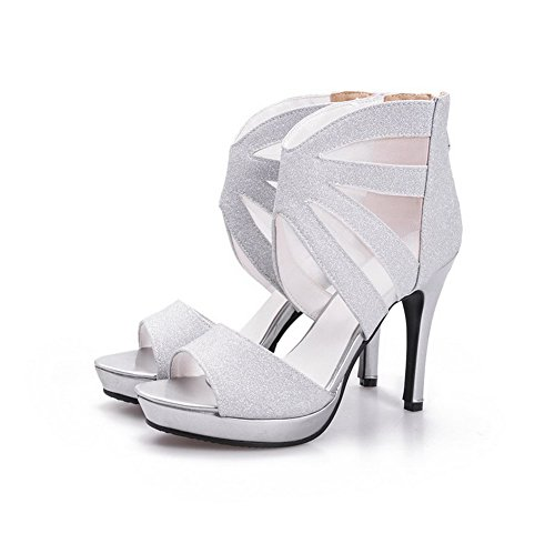 AgooLar Women's Open Toe Spikes Stilettos Solid Zipper Sandals Silver 0bzUEt