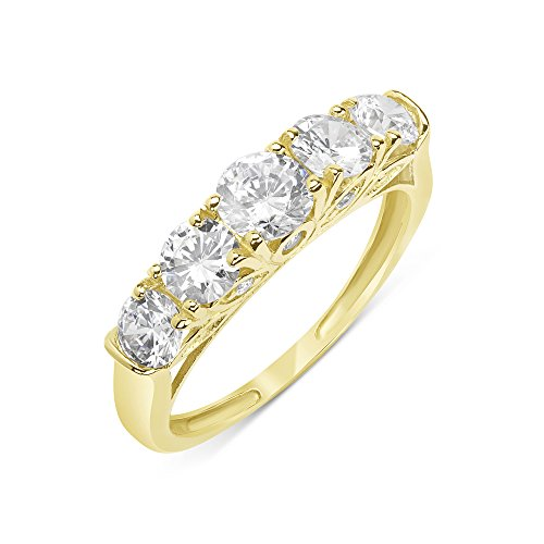 14K Yellow Gold Wedding Ring Round 1.76 cttw CZ Five Stone Anniversary Ring, 8 (Five Cz Ring Stone)