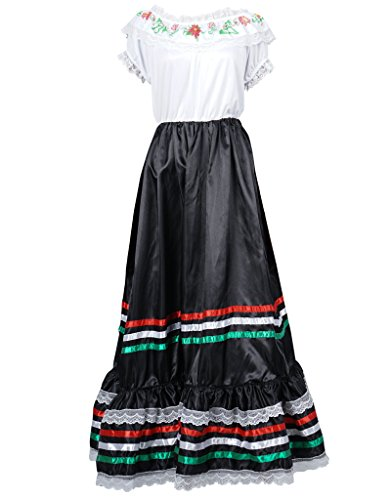 FantastCostumes Women Lace Flower Bohemian Maxi Costumes Festival Party Dress(White, M)]()
