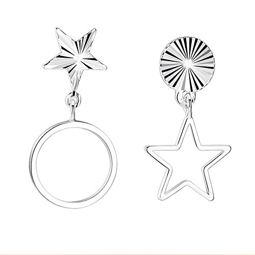 Women's Classical Moon and Stars Dangle Earrings for Girls Silver (Star-E73) -