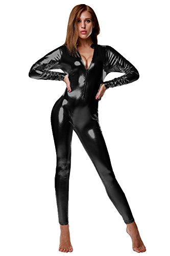 NIliker Women's Shiny Liquid Metallic Wet Look Zipper Front Catsuit (Medium, LYY078 Black) ()
