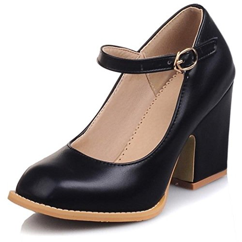 Janes Ancho Coolcept Al Mary Tacon Shoes Moda Court Tobillo Mujer Bombas Negro Zapatos OOgtq