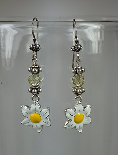 Flower Charms, Faceted Citrine & Sterling Silver Earrings (Faceted Flower Citrine)
