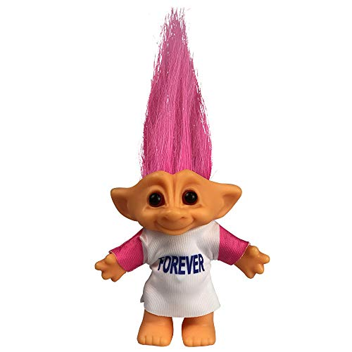 Yintlilocn Lucky Troll Dolls,Vintage Troll Dolls Chromatic Adorable for Collections, School Project, Arts and Crafts, Party Favors - 7.5 Tall Pink Hairs(Include The Length of Hair)
