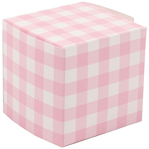 (JAM PAPER Glossy Gift Boxes - 2 x 2 x 2 - Pink Gingham Glossy - 10/Pack)