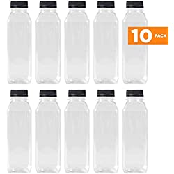 16 Oz Clear Plastic Juice/Dressing PET Square Container Bottles w/ Black Tamper Evident Caps by Pexale(TM)- (Pack of 10) (10)