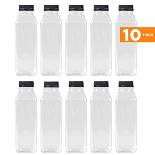 16 Oz Clear Plastic Juice/Dressing PET Square Container Bottles w/ Black Tamper Evident Caps by Pexale(TM)- (Pack of 10) (Bottle Cap Drink)