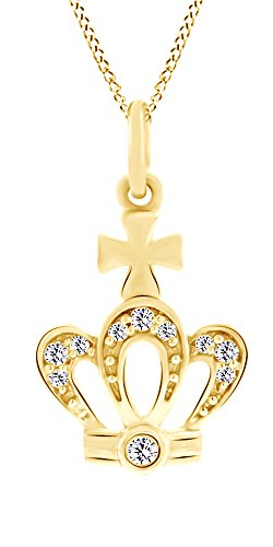 AFFY Round Cut White Natural Diamond Accents Crown Pendant Necklace in 14k Yellow Gold (0.04 cttw) ()
