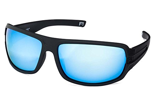 STRIYKER F1 Polycarbonate Polarized Sunglasses -100% UV 400 Protection- TR90 Universal Fit Memory Frame- Ultra Lightweight - Extremely Durable (Matte Black (Blue - Sunglasses F1