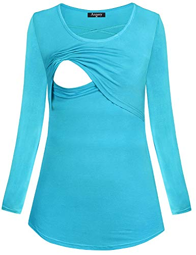 (Annery Breastfeeding Tunic for Women, Juniors Breathable Cotton Long Sleeve Nursing Nightgowns Top Scoop Neck Breastfeeding)