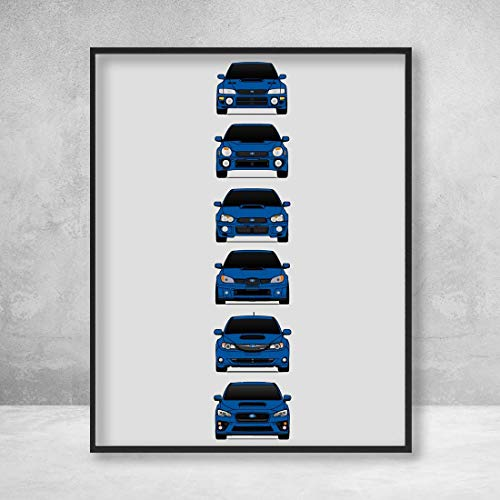 (Subaru WRX Poster Print Wall Art of the History and Evolution of the Impreza WRX Generations (Rally Blue Cars))