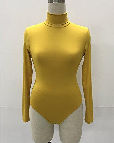 Leotard Basic Body Tuta Giallo Donna Bodysuit Bodycon Top Rompers Lunghe Orange Collo Maniche Alto O0q0XWrTz