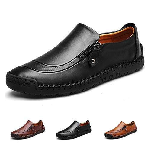 gracosy Slip-On Shoe,Men's Leather Hand Stitching Zipper Non-Slip Casual Walking Sneaker Loafer Boat Shoe Black 10 M - Leather Cow Black Zipper