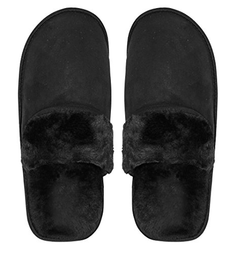 Peach Couture Mens Fleece Lined Relaxing Nordic Style House Slippers Black Solid T8W7PNOuaf