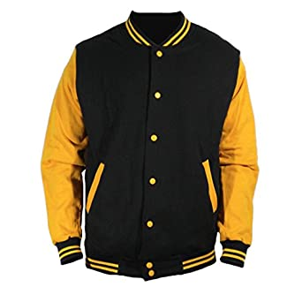 U World Men's Cotton Basic Baseball Varsity Jacket Mustard Yellow ...