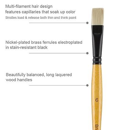 Creative Mark Mimik Paint Brush Professional Artist Synthetic Hog Bristle Long Handled Brush Flat Size 8