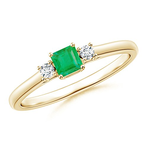 Christmas Offer - May Birthstone - Classic Square Emerald and Diamond Three Stone Ring for Women in 14K Yellow Gold (3.5mm Emerald) by Angara.com