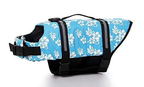 - GabeFish Dog Life Jacket Vest Safety Clothes Collar Harness Saver Pet Swimming Preserver Reflective Strip Swimwear ForalBlue 2X-Small