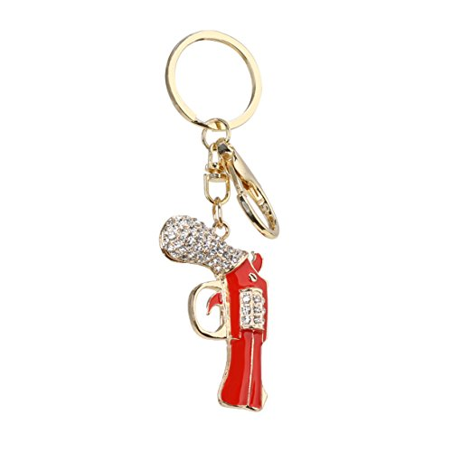 VXAR Keychain Key Ring Keyring Pendant Keyfob Charming Imitation Handguns Model Rhinestone Crystal Zinc Alloy Women Bag Purse Decoration Gift (Red 1pcs) (Best Small Handgun For A Female)