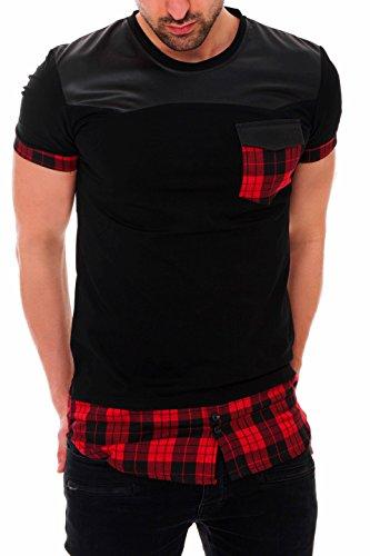 BLACK MAKI Herren T-Shirt Longshirt Long Oversize Hemdeinsatz kariert Karohemd Hemd Sweat Sweatpullover Zipped Rot S