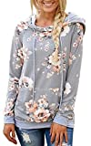 DDSOL Womens Floral Pullover Hoodie Casual Long Sleeve Drawstring Hooded Sweatshirt with Pocket