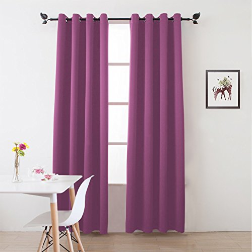 "Floweroom Blackout Curtains Solid Thermal Insulated Panel Energy Efficient Light/Room Darkening Window Treatment Draperies 2 Panels Set for Living room/Bedroom/Dining room 52""x96"" Rose Pink"
