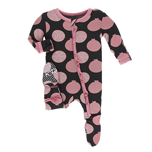 (Kickee Pants Little Girls Print Layette Classic Ruffle Footie with Zipper - Zebra Pomegranate, Newborn)