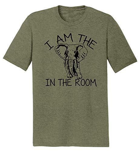 Mens Tri-Blend Tee I Am The Elephant in The Room Military Green Frost with Black Print L