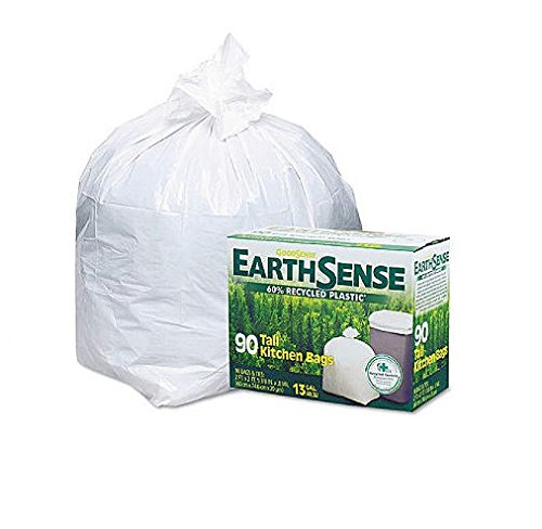 Webster Earthsense Recycled Can Liners, 13 Gallons, White, 90 Bags/Box (GES6K90) - Pack of ()