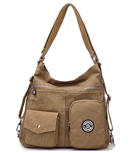 Multipurpose Water-resistant Nylon Shoulder Bag Top Handle Handbag Fashion Travel Backpack Purse for Women (Khaki)
