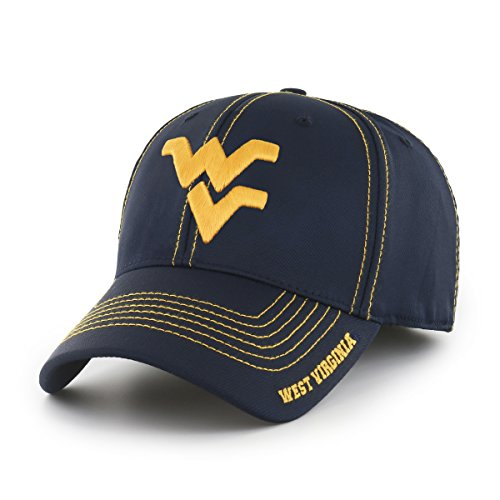 (NCAA West Virginia Mountaineers Adult Start Line Ots Center Stretch Fit Hat, Large/X-Large, Navy)