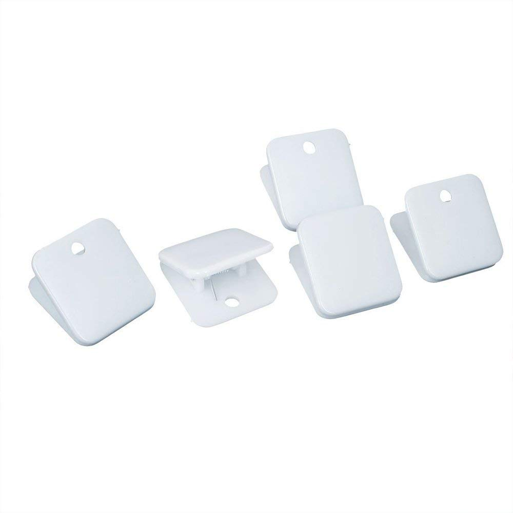 Potelin File Clip Plastic Stationery Clip Square Spring Loaded Paper Clip Office Stationery Supplies 5 Pcs White