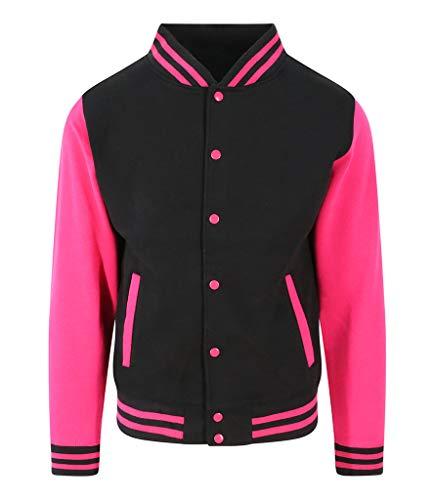 Awdis Hoods Varsity Letterman Jacket (Small, Jet Black/Hot Pink)