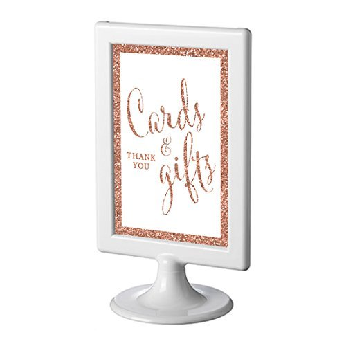 Andaz Press Framed Wedding Party Signs, Rose Gold Glitter, 4x6-inch, Cards and Gifts Thank You, 1-Pack, Copper Champagne Colored Decorations ()