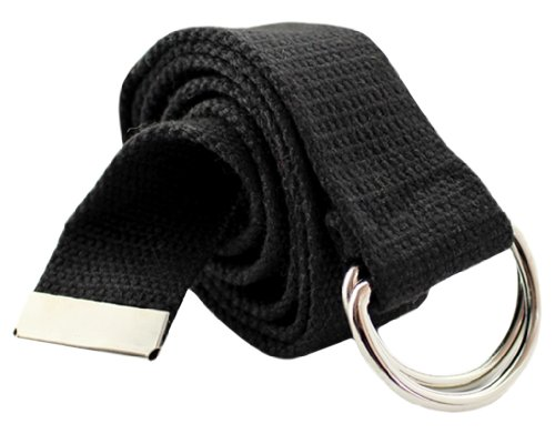 BONAMART Unisex Men Women Double D Ring Solid Knit Canvas Web Belt Waistband