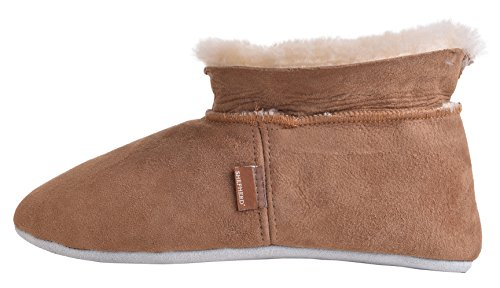 Chestnut Bootie Sheepskin Ladies Suede Slipper Sole Rolled Genuine Shepherd Cuff xzFwq6X6v
