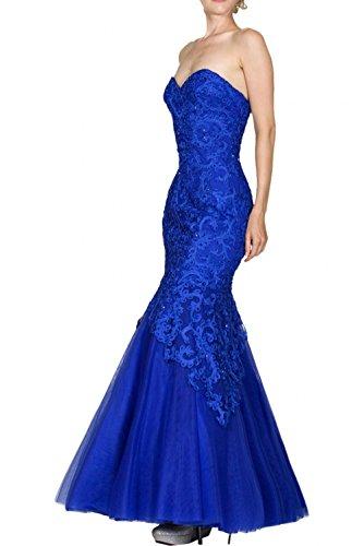 Elegant Meerjungfrau Royal Charmant Blau Promkleider Spitze Partykleider Royal Abendkleider Blau Damen Lang pwxSO5