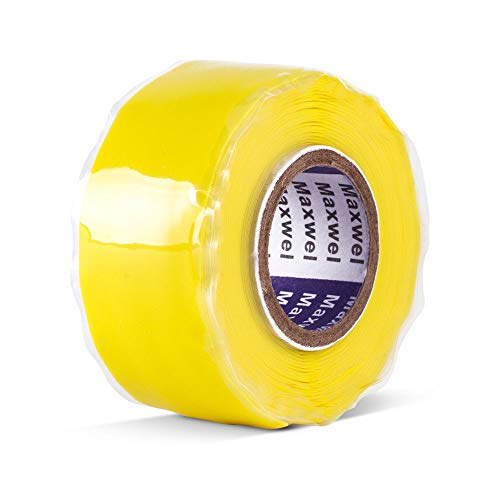 Self-Fusing-Silicone-Tape Yellow Maxwel Manufacturing KE30S Silicone Sealant and Sealing Tape for Emergency Repair Wrapping Insulation (2018 New Packing Design)