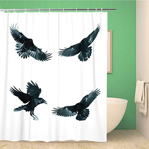 Awowee Bathroom Shower Curtain Crow Birds Mix Flying Common Ravens Corvus Corax Halloween Polyester Fabric 60x72 inches Waterproof Bath Curtain Set with Hooks -