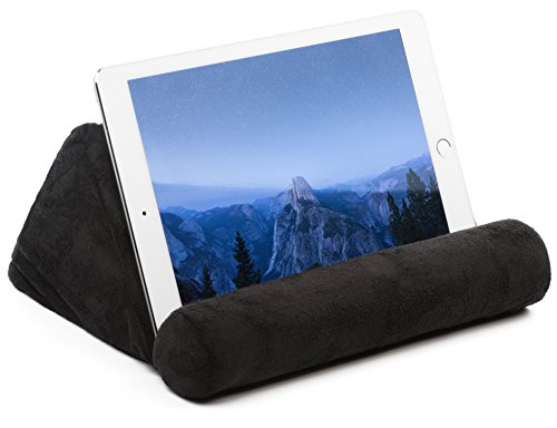 iPad Tablet Stand Pillow Holder - Universal Phone and Tablet Stands and Holders Can Be Used on Bed, Floor, Desk, Lap, Sofa, Couch - Black Color (Lying On Bed Or Lying In Bed)