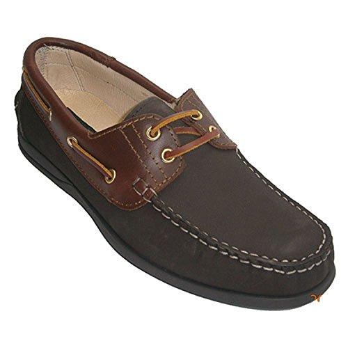 Chaussures de bateau et cuir nubuck combiné El Corzo en brun foncé