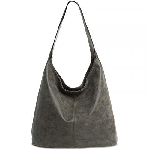 Caspar TS1015mujeres Vintage bolso bandolera gris oscuro