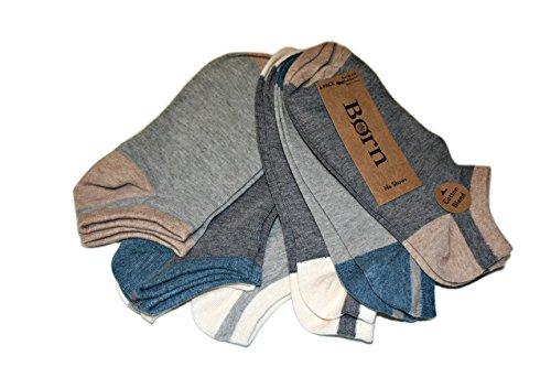 Born Women's 6-Pack Cotton Blend No Show Low-Cut Socks, Charcoal/Grey, Shoe Size 4-10